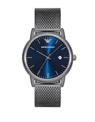 Emporio Armani Analog Luigi Grey IP Bracelet Watch-GREY-One Size