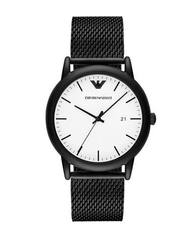 Emporio Armani Analog Luigi Black IP Bracelet Watch-BLACK-One Size