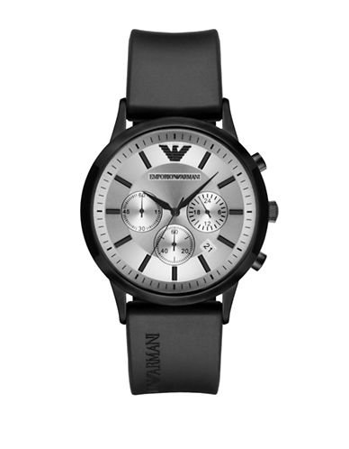 Emporio Armani Chronograph Renato Black IP Bracelet Watch-BLACK-One Size