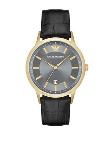Emporio Armani Analog Renato Goldtone Leather Strap Watch-BROWN-One Size