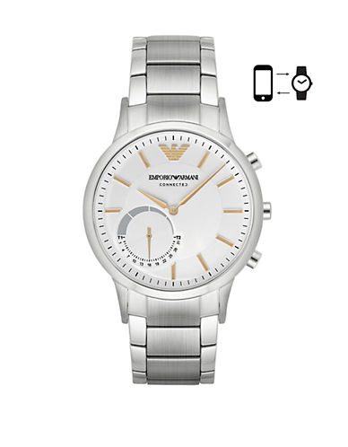 Emporio Armani Chronograph Renato Stainless Steel Bracelet Smartwatch-SILVER-One Size