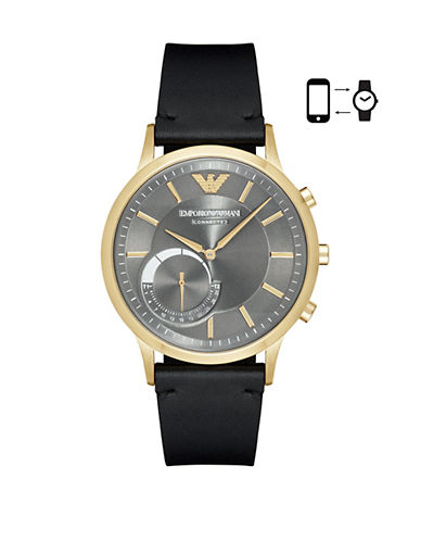 Emporio Armani Chronograph Renato Two-Tone Leather Strap Smartwatch-BLACK-One Size