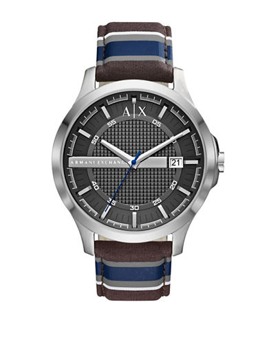 Armani Exchange Hampton Quartz Three-Hand Date Fabric Strap Watch-BLUE-One Size