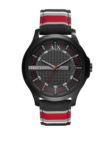 Armani Exchange Hampton Quartz Three-Hand Date Fabric Strap Watch-RED-One Size