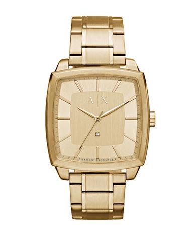 Armani Exchange Nico Quartz Three-Hand Goldtone Bracelet Watch-GOLD-One Size