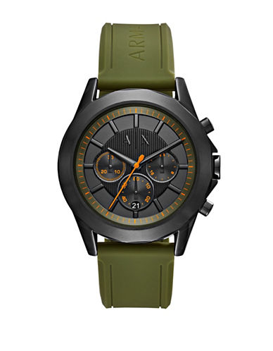 Armani Exchange Chronograph Drexler Smart Collection Silicone Strap Watch-GREEN-One Size
