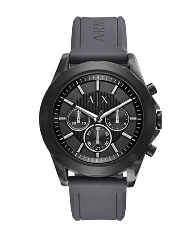 Armani Exchange Drexler Quartz Chrono Acetate Silicone Strap Watch-GREY-One Size