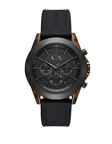 Armani Exchange Drexler Quartz Chrono Acetate Silicone Strap Watch-BLACK-One Size