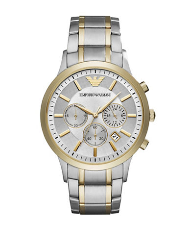 Emporio Armani Chronograph Renato Two-Tone Stainless Steel Bracelet Watch-SILVER-One Size
