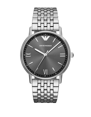 Emporio Armani Dress Kappa Analog Bracelet Watch-SILVER-One Size