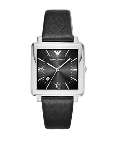 Emporio Armani Dress Modern Square Strap Watch-BLACK-One Size