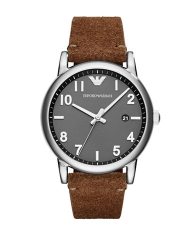 Emporio Armani Fashion Luigi Analog Strap Watch-BROWN-One Size