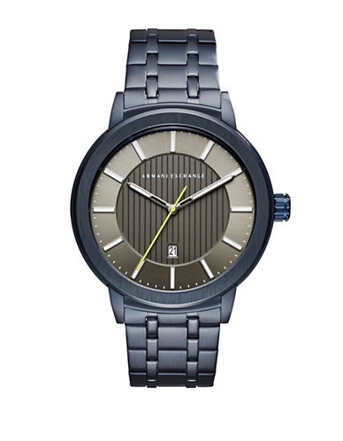 Armani Exchange Analog Blue IP Bracelet Watch-BLUE-One Size