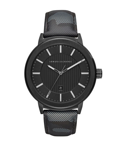 Armani Exchange Street Maddox Analog Strap Watch-BLACK-One Size