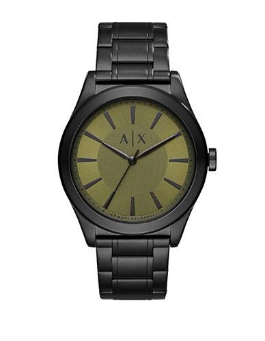 Armani Exchange Nico Three-Hand Stainless Steel Link Bracelet Street Watch-BLACK-One Size