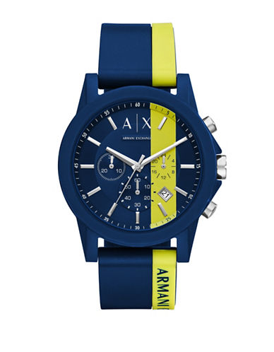 Armani Exchange Active Outerbanks Chronograph Strap Watch-BLUE-One Size