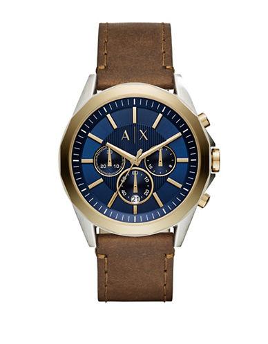 Armani Exchange Dress Drexler Chronograph Strap Watch-BROWN-One Size