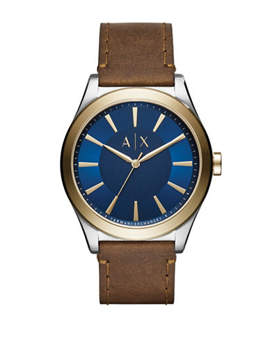 Armani Exchange Dress Nico Analog Strap Watch-BROWN-One Size