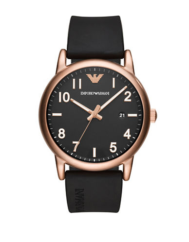 Emporio Armani Three-Hand Luigi Sport Strap Watch-BLACK-One Size