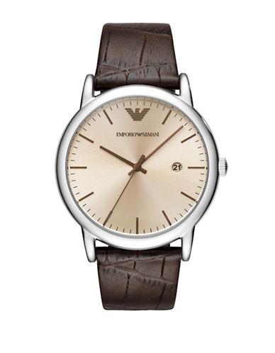 Emporio Armani Three-Hand Luigi Dress Strap Watch-BROWN-One Size