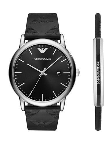 Emporio Armani Three-Hand Luigi Dress Watch Gift Set-BLACK-One Size