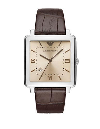 Emporio Armani Three Hand Modern Square Dress Strap Watch-BROWN-One Size