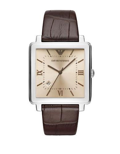 Emporio Armani Three Hand Modern Square Dress Strap Watch-BROWN-One Size