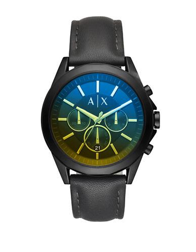 Armani Exchange Chronograph Drexler Leather Strap Watch-BLACK-One Size