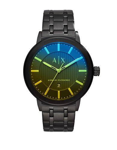 Armani Exchange Analog Maddox Stainless Steel Bracelet Watch-BLACK-One Size