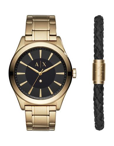 Armani Exchange Analog Nico Stainless Steel Bracelet Watch-GOLD-One Size