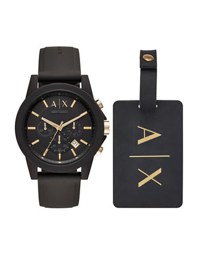 Armani Exchange Chronograph Outerbanks Silicone Strap Watch-BLACK-One Size