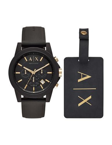 Armani Exchange Chronograph Outerbanks Silicone Strap Watch-BLACK-One Size