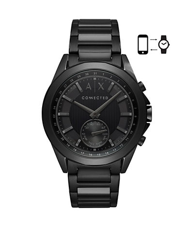 Armani Exchange Hybrid Smartwatch Drexler IP Stainless Steel Link Bracelet-BLACK-One Size