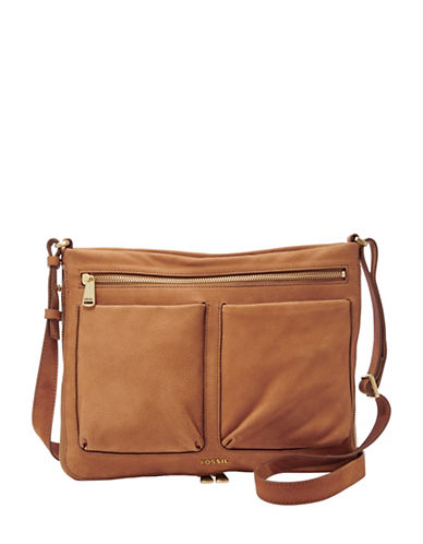 Fossil Piper Small Leather Crossbody Bag-BROWN-One Size