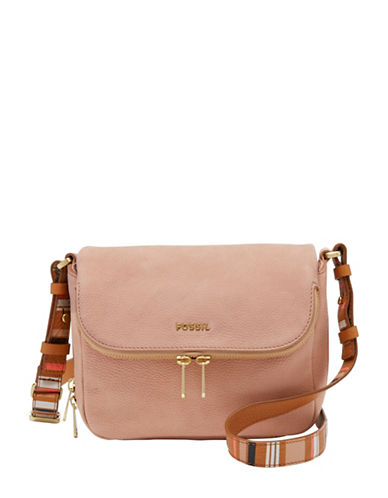 Fossil Preston Flap Leather Small Crossbody Bag-PINK-One Size