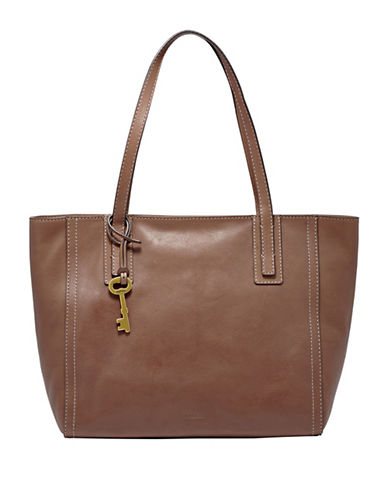 Fossil Emma Leather Tote-BROWN-One Size
