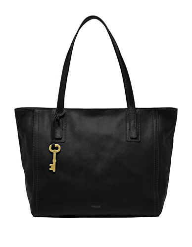Fossil Emma Leather Tote-BLACK-One Size