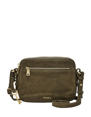 Fossil Piper Toaster Leather Crossbody Bag-GREEN-One Size