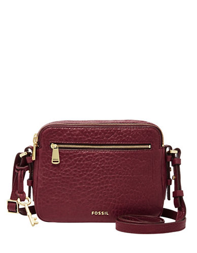 Fossil Piper Toaster Pebbled Leather Crossbody Bag-RED-One Size