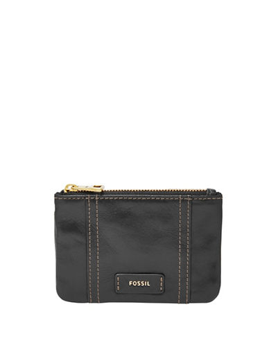 Fossil Ellis Leather Zip Coin Pouch-BLACK-One Size