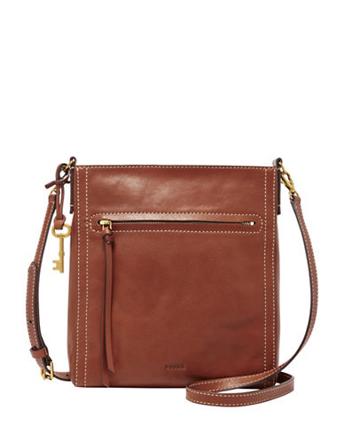 Fossil Emma Leather Crossbody-BROWN-One Size