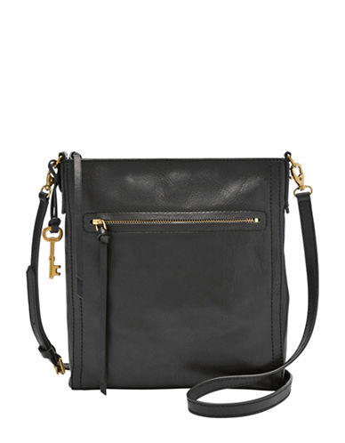 Fossil Emma Leather Crossbody-BLACK-One Size