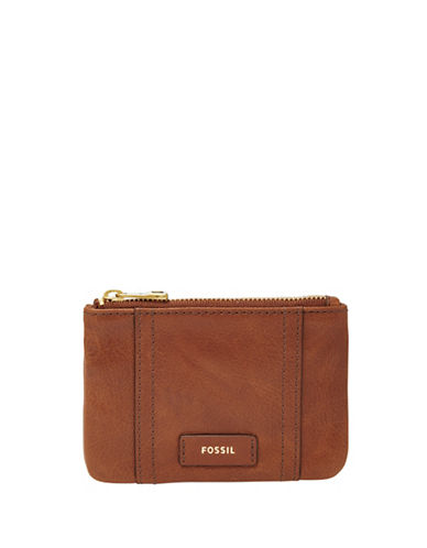 Fossil Ellis Leather Zip Coin Pouch-BROWN-One Size