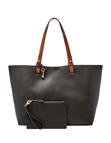 Fossil Rachel Rubberized Leather Tote-BLACK-One Size