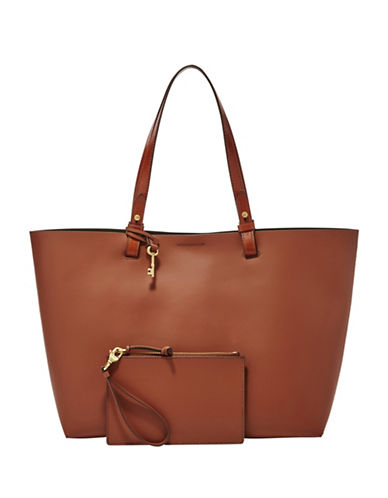 Fossil Rachel Rubberized Leather Tote-BROWN-One Size
