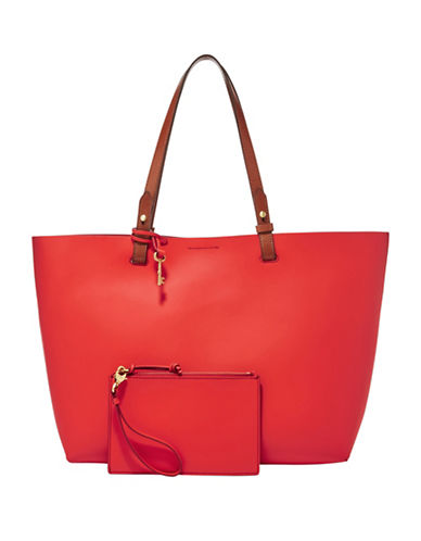 Fossil Rachel Rubberized Leather Tote-RED-One Size