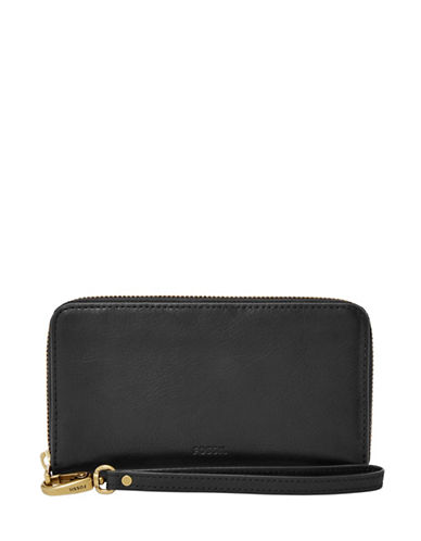 Fossil Emma Smartphone Leather Wristlet-BLACK-One Size