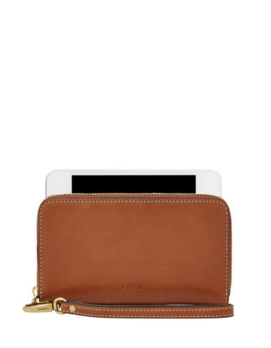 Fossil Emma Leather Smartphone Wristlet-BROWN-One Size