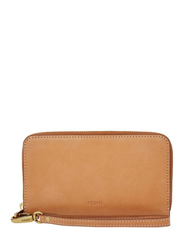 Fossil Emma Smartphone Leather Wristlet-BROWN-One Size