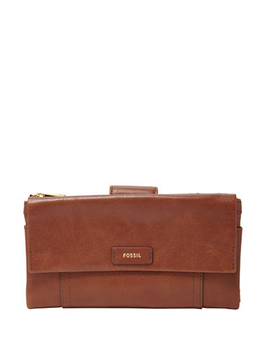 Fossil Ellis Leather Clutch-BROWN-One Size